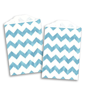 MINI Blue Chevron Stripe Paper Bags