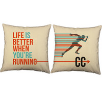 Set of 2 Cross Country Life Pillows - Cross Country Pillow Covers and Or Cushion Inserts - Running Print, Cross Country, Run, Fit Life, XC