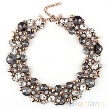Women's Gorgeous Bib Statement Black Mixed Crystal Necklace