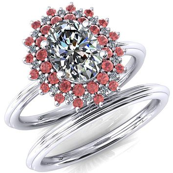 Eridanus Oval Moissanite Cluster Diamond and Padparadscha Sapphire Halo Wedding Ring ver.3