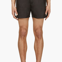 Msgm Navy And Yellow Floral-trimmed Swim Shorts