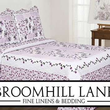 Brand New! Bedspreads + Free Shams Lilac Lavender Patchwork Quilted Floral Set
