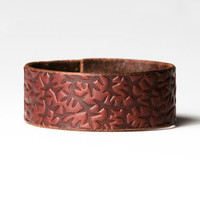Chestnut Brown Leather Cuff  - Embossed with Thorns - Brass Fasteners - 1 Inch Wide