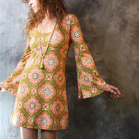 Vintage 1960s Mod Hippie London Dress Bell Sleeves