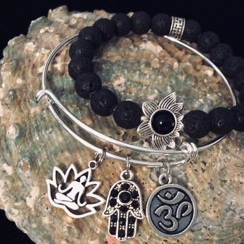 Hamsa Buddha Om Lotus Black Lava Stone Charm Bracelet Stretch Bracelet Silver Adjustable Bangle One Size Fits All  Gift Trendy Yoga Inspired (This includes BOTH Bracelets as a Set)