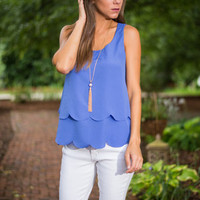 Sweetly Scalloped Tank, Blue