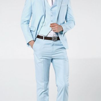 2018 New Arrivals Light Blue Wedding Suits For Men Slim Fit Formal Groom Prom Dress Blazer 3 Piece Male Tuxedo Jacket+Pant+Vest