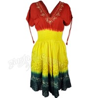 Rasta Tie-Dye Short Sleeve Smocked Dress – Women's at RastaEmpire.com