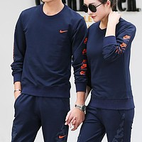 Nike Women Men Fashion Casual Top Sweater Pants Trousers Set Two-Piece