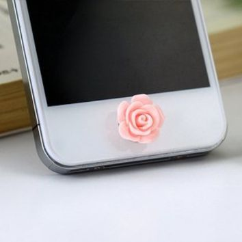 Cellot Cute Pink Rose Flower Phone Home Return Keys Buttons Sticker for Iphone 4s Iphone 5s Ipod Touch Ipad