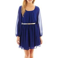 jcpenney | by&by Elbow-Sleeve Chiffon Belted Dress