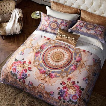 Cool Egyptian Cotton Bohemia style Luxury Bedding set Queen King size Boho Duvet cover Silky Bed sheet set  Bedclothes Bed linenAT_93_12
