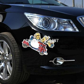 Newest Minions Despicable Me Stuart Phil Kevin Jerry Jorge Phil Riding Stickers Car Decal for  Volkswagen Tesla  Kia Lada