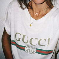 """Gucci"" Summer Stylish Women Men Casual Letters Print Short Sleeve T-Shirt Top White I"