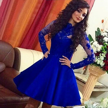 Lace Knee Length Royal Blue Full Sleeve 2017  Cocktail Party Dresses summer Gowns coctail dress vestidos de fiesta