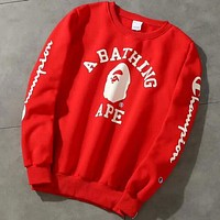 Champion X Bape Aape Trending Loose Print Logo Round Collar Sport Top Sweater Casual Sweatshirt Red