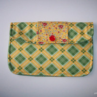 Happy Plaid and Rosy Floral Green and Yellow Clutch Charmante Medium
