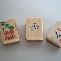 Mah Jong Tiles Lot Of 3 Vintage  Bone And Bamboo Some Wear And Discoloration