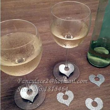 50pcs Glitter Heart Glass Ring Wine Drink Marker Name Tags Charms Wedding Party Bachelorette Bridal shower place table cards