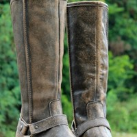 brown distressed riding boots by Corral