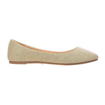 Jump99A Black By Bamboo, Sparkling Casual Pointed Toe Slip On Comfort Ballet Flat