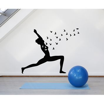 Vinyl Wall Decal Yoga Pose Bird Mediation Girl Zen Balance Stickers Mural (g732)