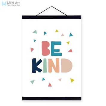 Motivational Typography Kind Quote Wooden Framed Canvas Painting Kid Baby Room Decor Nordic Wall Art Print Picture Poster Hanger