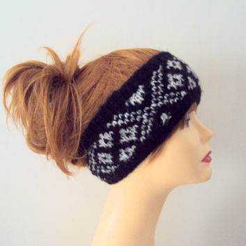 Icelandic Wool Alpaca Headband Scandinavian Nordic Fair Isle Hand Knitted Head Band Ear Warmer Women Winter Clothing Fashion Accessories