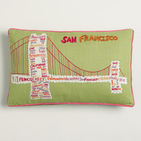 Vintage Golden Gate Bridge Embroidered Lumbar Pillow | World Market