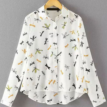 White Long Sleeve with Colorful Dragonfly Print Blouse