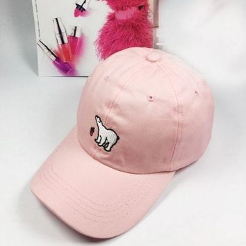 ESBON Day First Pink Polar Bear Embroidered Baseball Cap Hat