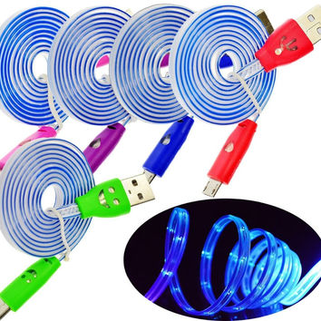 1 Meter Colorful LED Night Light UP Micro USB Charger Data Cable Cord for Samsung Galaxy Note HTC Nokia Lumia Android Phone