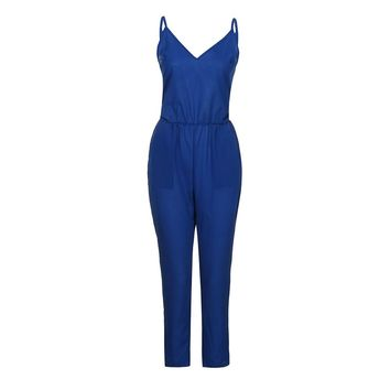 Women's Strappy V Neck Bodycon Party Jumpsuit