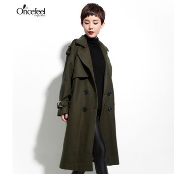 Clothing loose thin coat wool jacket to send long stretch trench coat women long women's trench coat for women fashion autumn
