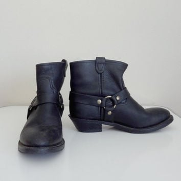 1970s Black Leather Motorcycle Boots by Double H Size 7 1/2