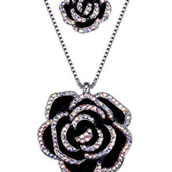 """Fappac Rhodium Plated Aurora Borealis Crystals from Swarovski 2 Row Flower Pendant Necklace, 26.5+2"""" Ext"""
