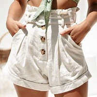 Ruffle High Waist Pockets Women Cotton Shorts Solid White Button Shorts