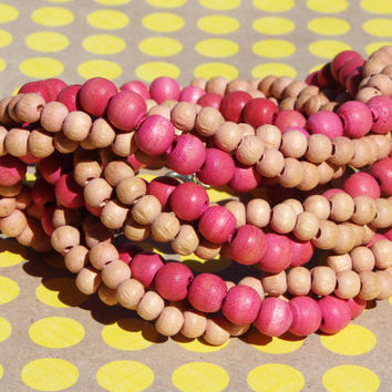 Vintage Bright Pink Natural Wood Bead Necklace Colors Spring Wooden Twisted Vibrant Jewelry Fashion Forward Accessory Fuchsia Chic Retro Fun