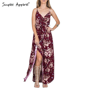 Simplee Apparel Sexy side split floral print maxi dress Women retro beach party summer dress 2016 girls red casual long vestidos