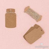 Kraft Paper Mason Jar Favor Tag with Twine for Rustic Wedding