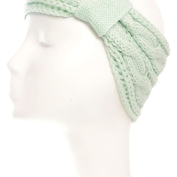 Mint Cable Knit Headwrap