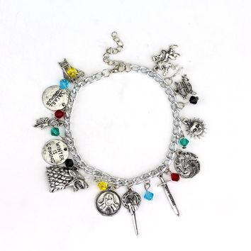 Six Styles Star wars Alice In Wonderland Bracelet Doctor Who Game of Thrones Zelda Alloy Pendent Crystal beads Charm Bracelet