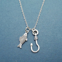 You are my best catch, Fish, Hook, Hooked on you, Fish, Hook, Silver, Necklace, Best, Catch, Best friend, Friendship, Gift, Jewelry
