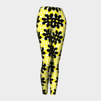 Yellow Black Hand Drawn Doodle All Over Print leggings