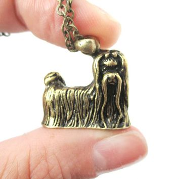 Realistic Long Haired Maltese Puppy Necklace in Brass | Jewelry for Dog Lovers