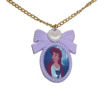 Ariel Necklace, The Little Mermaid Cameo Necklace, Classic Disney, Disney Princess Lilac, Pastel Cute Kawaii