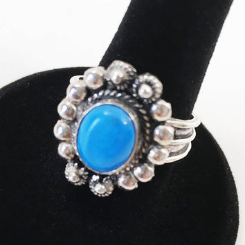 Sterling Silver Blue Ring, Vintage Art Nouveau Style, Turquoise Fashion Statement Ring, Southwest 950 Silver Ring