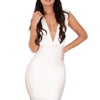 Clothing : Bandage Dresses : 'Maxen' White Deep V Bandage Dress