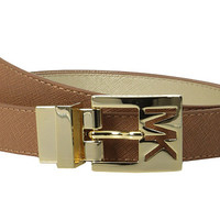 MICHAEL Michael Kors 25mm Reversible Saffiano to Metallic Saffiano on MK Cutout Harness Buckle Belt Luggage - Zappos.com Free Shipping BOTH Ways