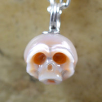 Carved Pearl Skull Necklace - Pink Pearl Necklace - Skull Jewelry - Anniversary Gift - Christmas Gift - Pearl Skull Pendant